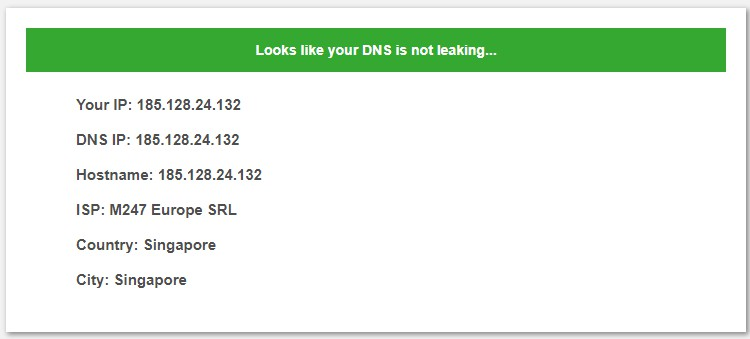 No DNS leak on Surfshark