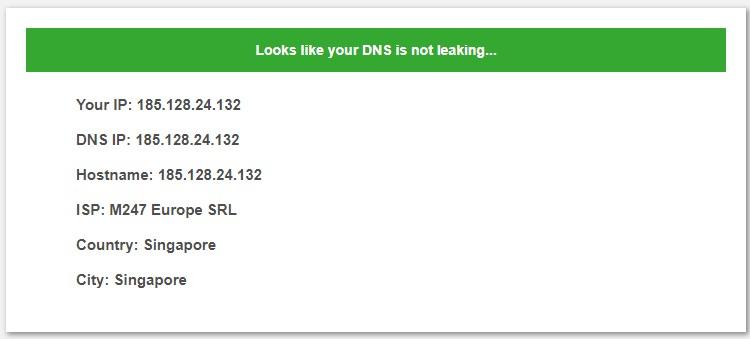 No DNS leak on Surfshark
