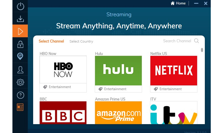 Convenient video streaming options in the Ivacy app