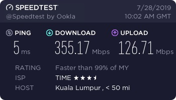 Baseline speed with Surfshark disabled
