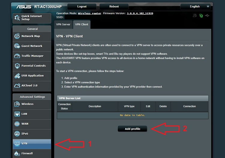 Router Navigation Page (Asus)